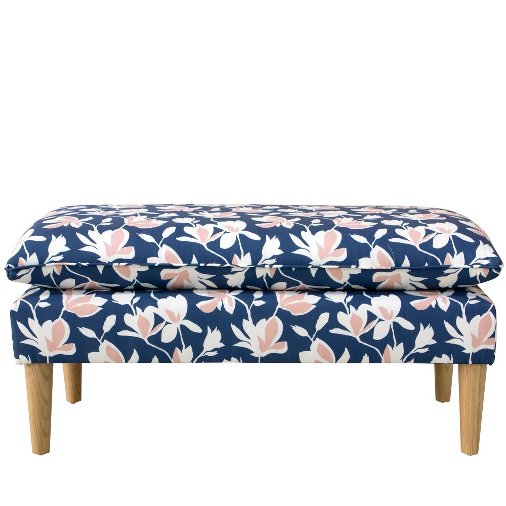Pillowtop Bench in Silhouette Floral Navy - Cloth & Co.