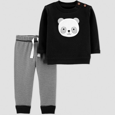 Baby Boys' 2pc Quilted Stripe Panda Set - Just One You® made by carter's Black 12M