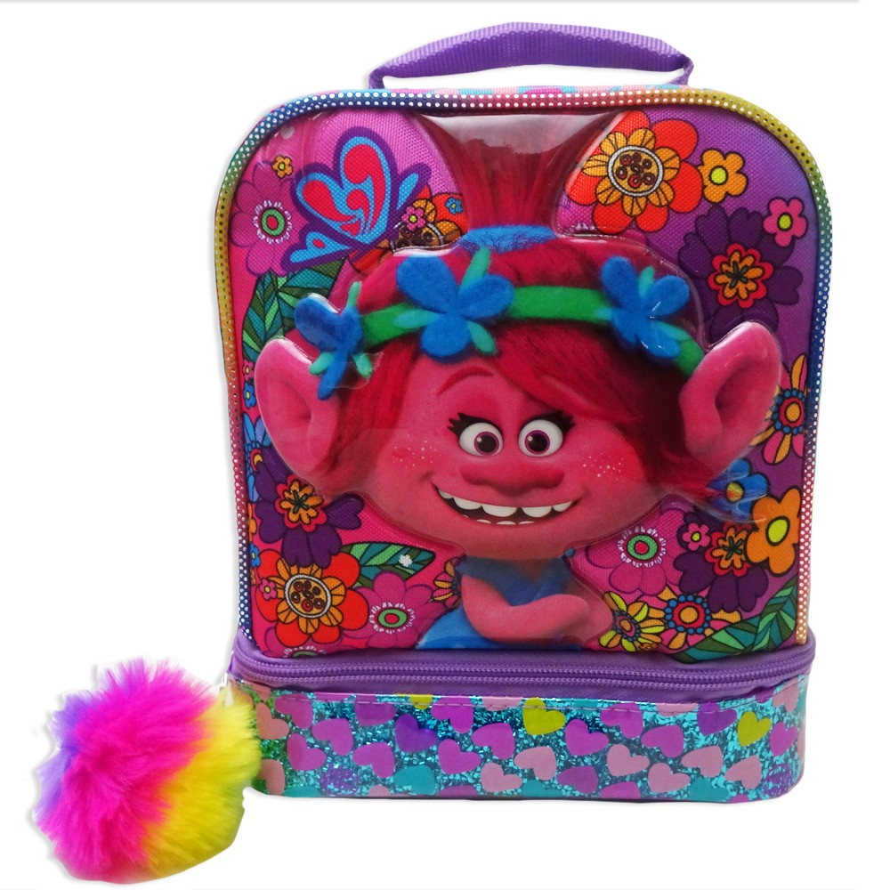 Trolls Dual Compartment Lunch Bag with Pom Pom - Pink/Purple, Blue Velvet