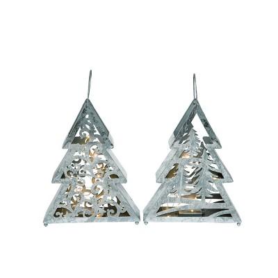 Transpac Metal 13 in. Silver Christmas Light Up Die Cut Tree Set of 2