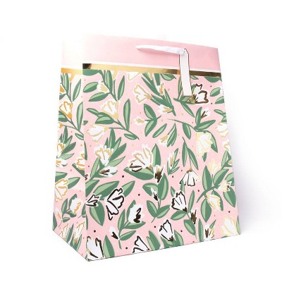 Extra Large Floral Gift Bag with Foil White/Pink/Gold - Spritz™