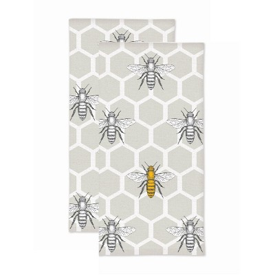 2pk Beehive Print Kitchen Towel - MU Kitchen