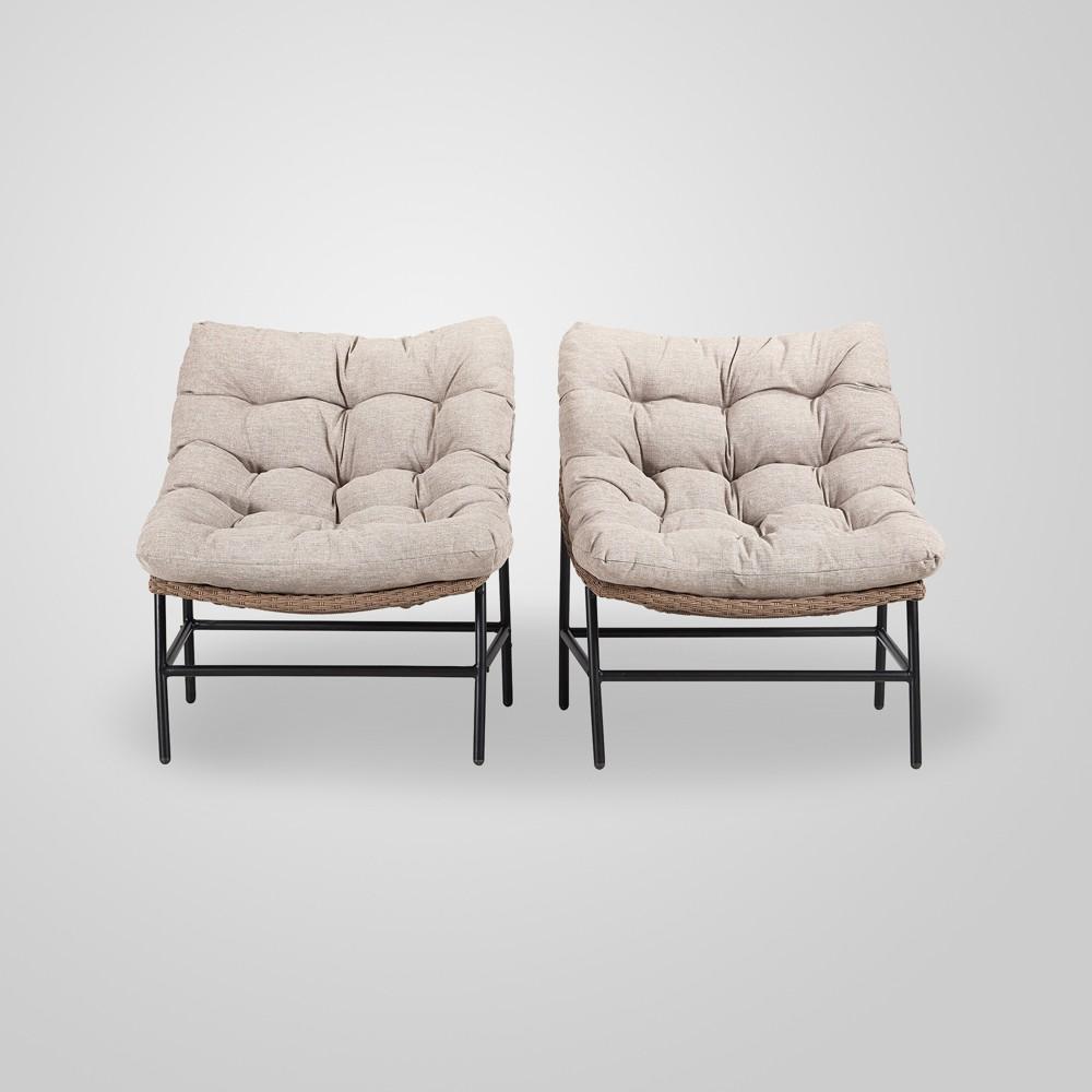 Papasan Scoop Outdoor Patio Chair Set of 2 - Natural - Saracina Home, Tan