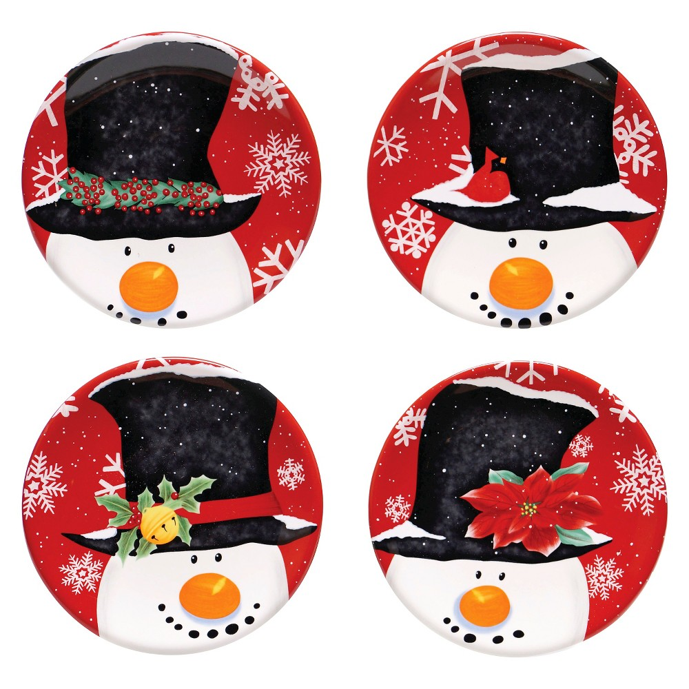 Certified International Top Hat Snowman Assorted Canape Plates Set of 4 (6)