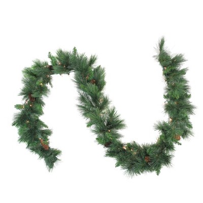 """Northlight 9' x 14"""" Prelit White Valley Pine Artificial Christmas Garland - Clear Lights"""
