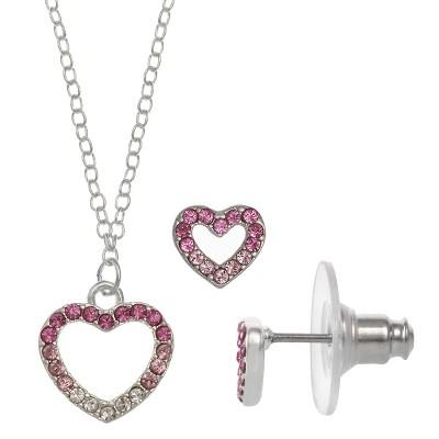 FAO Schwarz Crystal Open Heart Pendant Necklace & Earring Set