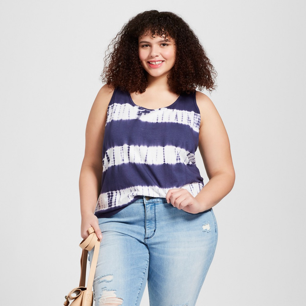 Women's Plus Size Lafayette Knit Tank Top - Universal Thread Navy Tie Dye 3X, Blue