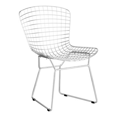 Set of 2 Mid-Century Modern Welded Steel Dining Chair Chrome - ZM Home