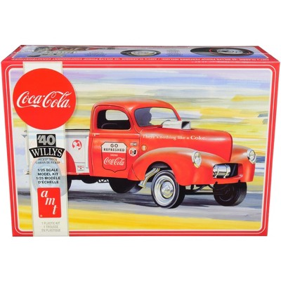 Buildable Vintage Vehicle for Kids and Adults 1//25 Scale Pickup Truck Model Kit AMT 1940 Willys Coca-Cola Pickup Gasser