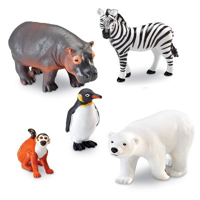 Learning Resources Jumbo Zoo Animals I Monkey, Penguin, Zebra, Polar Bear, and Hippo, 5 Animals