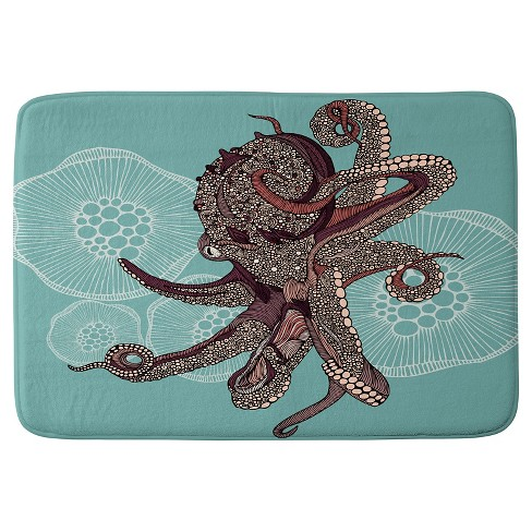 "Valentina Ramos Octopus Bloom Cushion Bath Mat (36""x24"") Blue - Deny Designs - image 1 of 4"