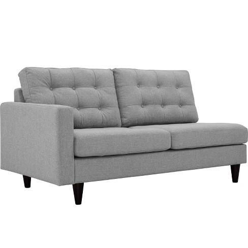 Empress LeftFacing Upholstered Fabric Loveseat Light Gray - Modway - image 1 of 3