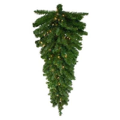"Northlight 42"" Prelit Canadian Pine Artificial Christmas Teardrop Door Swag - Clear Lights"