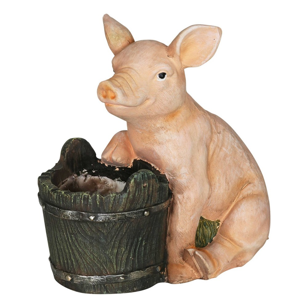 8 07 34 Resin Pig And Bucket Planter Brown Pink Exhart