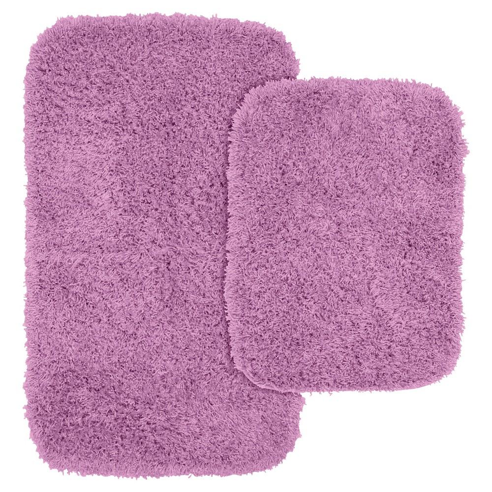2pc Jazz Shaggy Washable Nylon Bath Rug Set Purple Garland