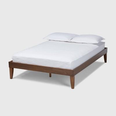 Lucina Walnut Platform Bed Frame Brown - Baxton Studio