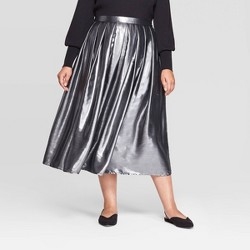 Women's Plus Size Mid-Rise Flowy Midi Skirt - Who What Wear™ Silver