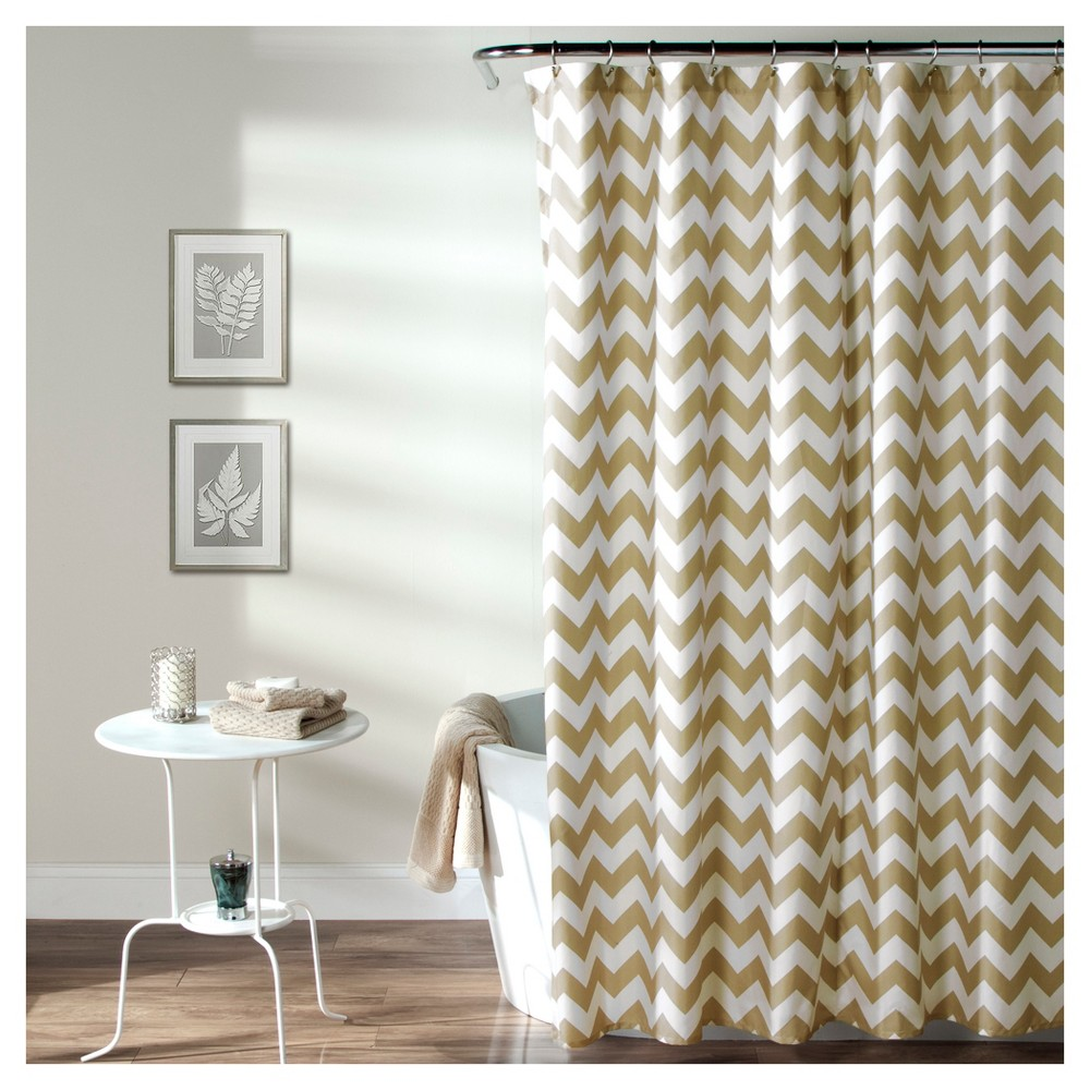 Image of Chevron Shower Curtain Taupe - Lush Decor, Soft Taupe