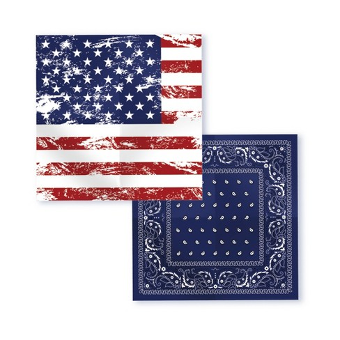 Wemco™ Striped Men's Distressed Flag and Paisley Bandana Handkerchief - Red/White/Blue - image 1 of 2