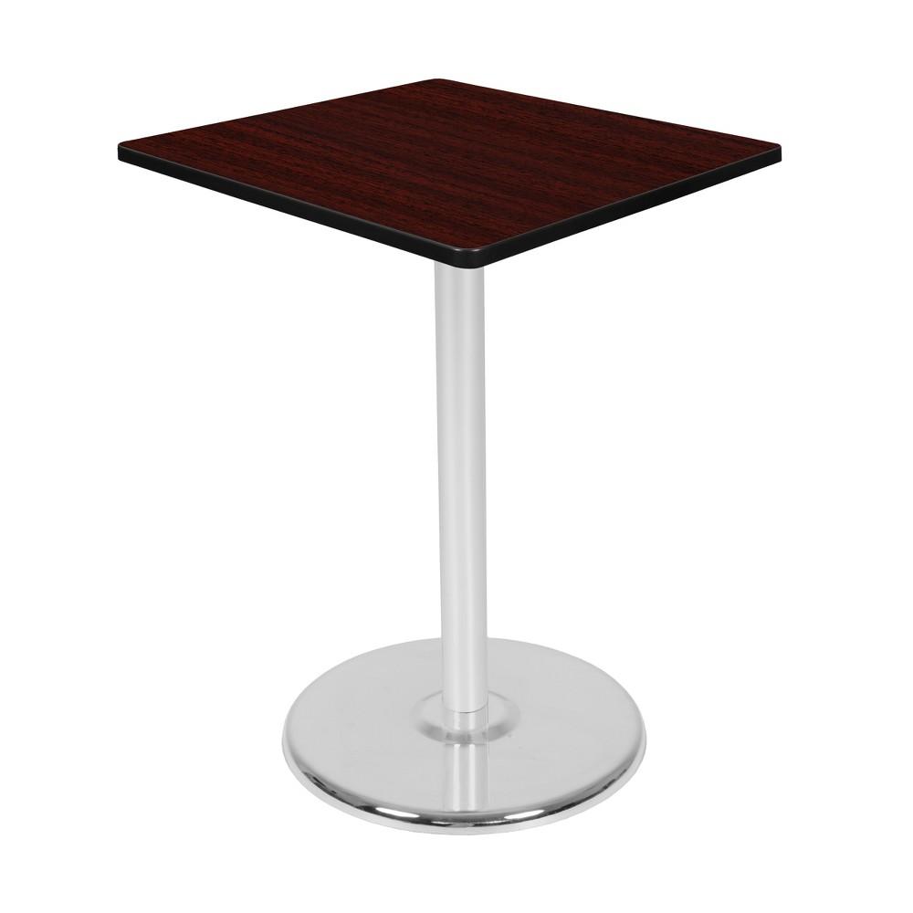 30 Via Cafe High Square Platter Base Table Mahogany/Chrome (Brown/Grey) - Regency