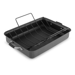 """Select by Calphalon 16"""" Hard-Anodized Non-Stick Roaster with Rack"""