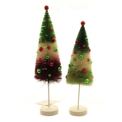 """Christmas 11.0"""" Jolly Tricolor Trees Bottle Brush St/2  -  Decorative Figurines"""