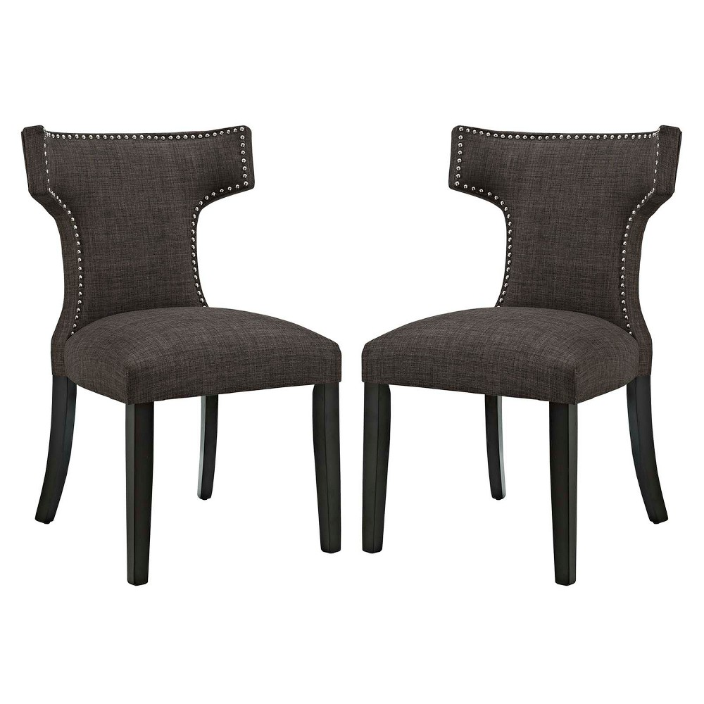 Curve Dining Side Chair Fabric Set of 2 Brown - Modway
