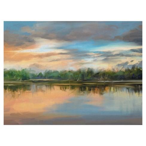 "30""x40"" Lakeside Light By Studio Arts Art On Canvas - Fine Art Canvas - image 1 of 4"