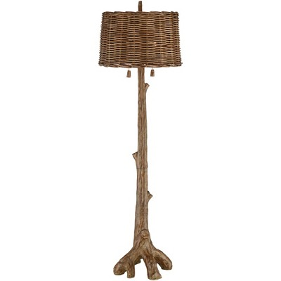 Barnes and Ivy Rustic Country Cottage Floor Lamp Faux Wood Tree Brown Wicker Drum Shade for Living Room Reading Bedroom Office