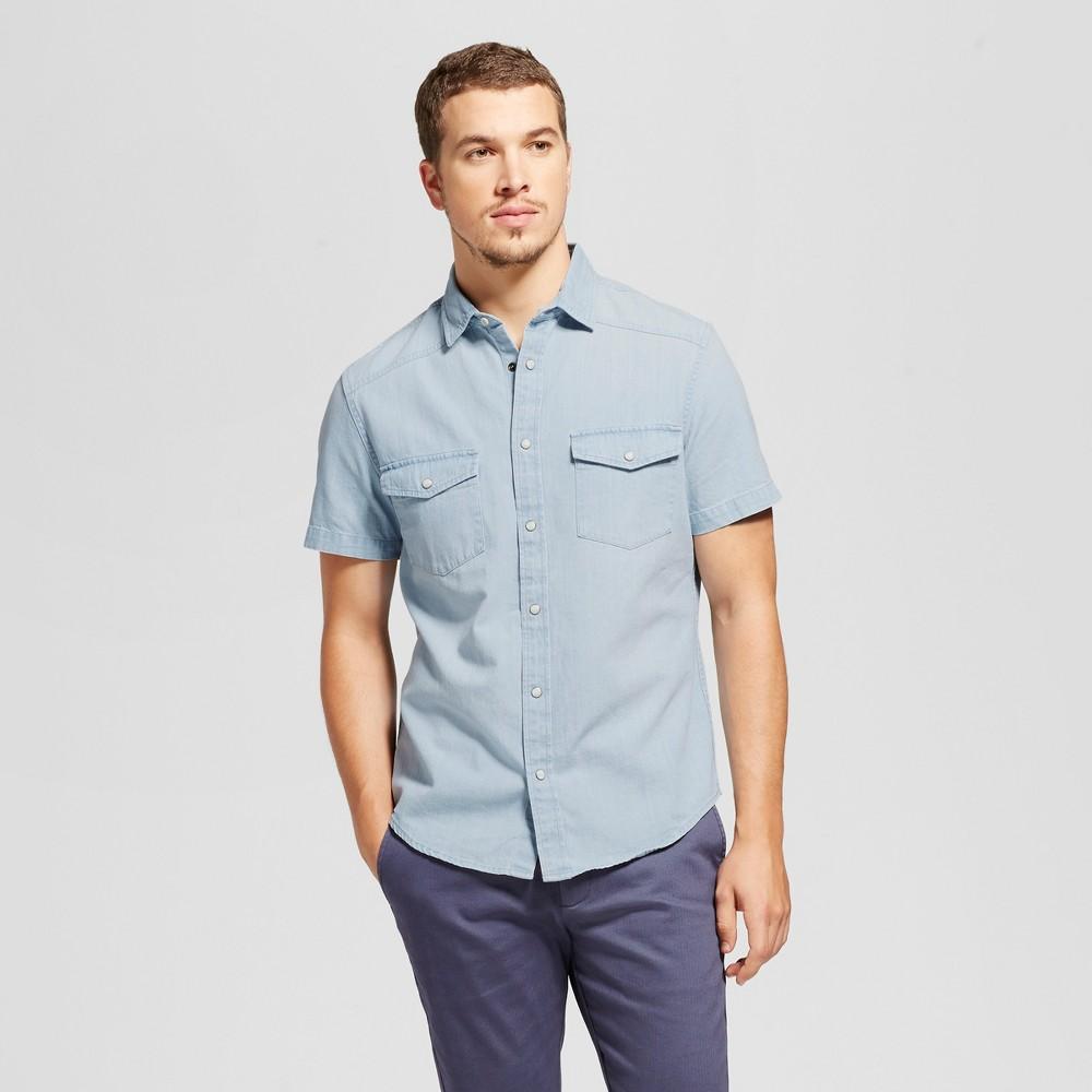 Men's Standard Fit Denim Shirt - Goodfellow & Co Silver Xxl, Gray