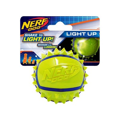 "NERF TPR Spike LED Ball Dog Toy - Green/Blue - 2.5"""