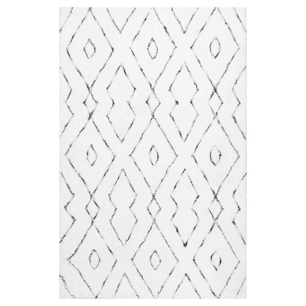 White Solid Tufted Area Rug - (5'x8') - nuLOOM, White Blue