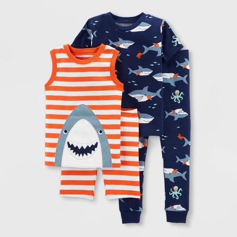Toddler Boys' 4pc Shark Snug Fit Pajama Set - Just One You® made by carter's Orange/Blue - image 1 of 3