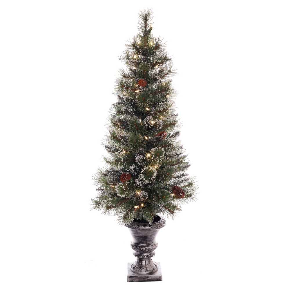 Image of 4ft Pre-lit Artificial Potted Snow Mountain Artificial Christmas Tree - Puleo