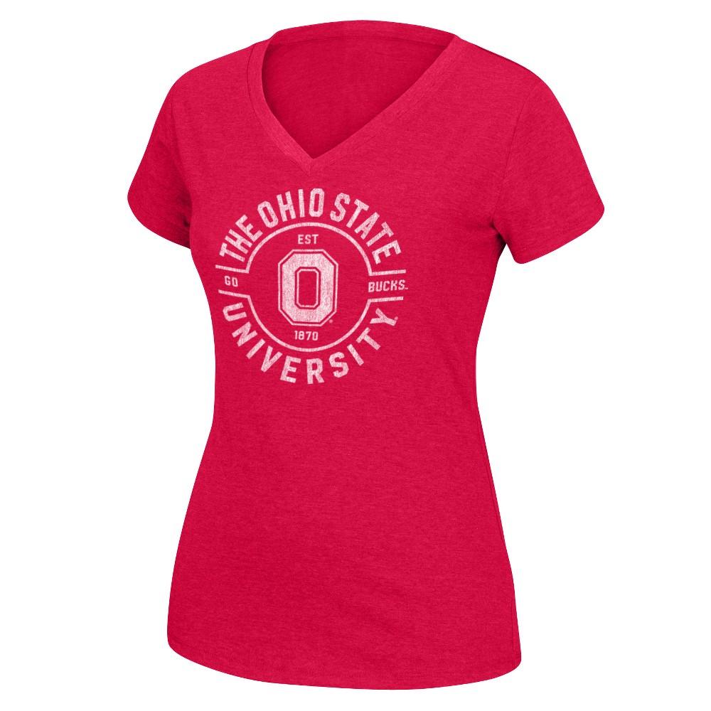 Ohio State Buckeyes Women's Short Sleeve Single Dye V-Neck T-Shirt - XL, Red