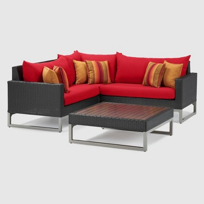 Milo Espresso 4pc Wicker Sectional Seating Set - RST Brands