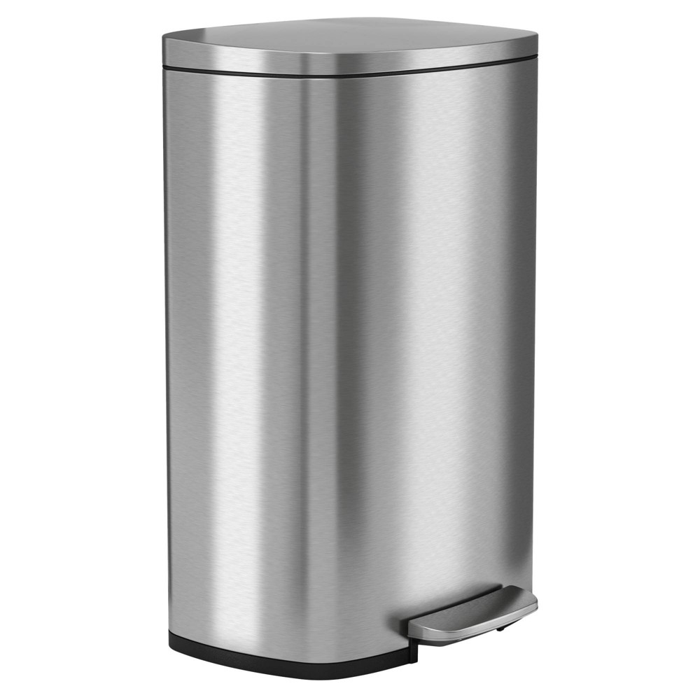 Image of 13gal Premium SoftStep Stainless Steel Step Trash Can - Halo, Silver