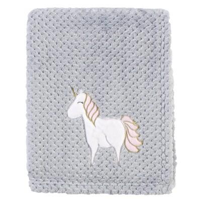 Hudson Baby Unisex Baby Plush Waffle Blanket - Pink Unicorn One Size