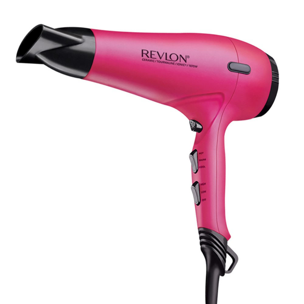 Revlon Pro Collection Soft Feel Hair Dryer, Pink Features: 1. Rubberized soft-feel finish for a comfortable feel and hold 2. AC motor for 3x longer lifespan 3. 3 heats and 2 speed settings for versatile styling 4. Intense airflow and quick dry time for the perfect blowout 5. Includes concentrator and finger diffuser attachments Product Description: The durable salon quality AC motor has an extended lifespan lasting up to 3x longer. Its high powered airflow dries fast, exposing hair to less heat for styles locked-in shine and softness in less time. Dryer come with 3 heat / 2 speed settings, cold shot button to set the style, concentrator/diffuser attachments, removable end cap, protective anti-skid bumpers and hanging ring. Color: Pink. Gender: Female. Pattern: Solid.