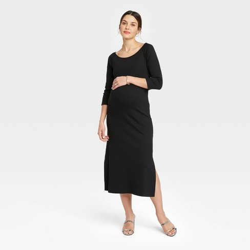 The Nines by HATCH™ 3/4 Sleeve Ribbed Maternity Dress Black - image 1 of 3
