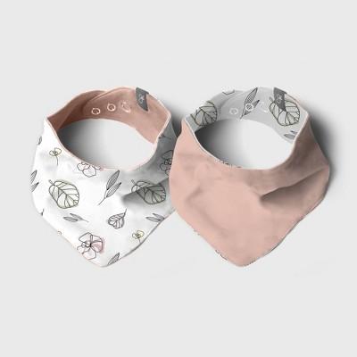 Goumi Baby 2pk Organic Cotton Abstract Floral Reversible Bandana Bib - Pink/White
