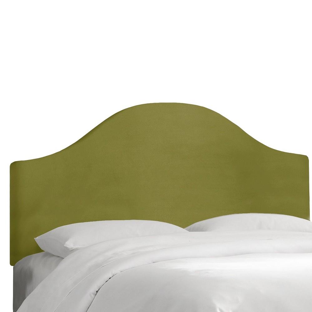 Custom Upholstered Curved Headboard - Velvet Applegreen - California King - Skyline Furniture