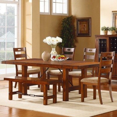 6 Piece Etna Extendable Dining Set Rustic Oak   Homelegance : Target