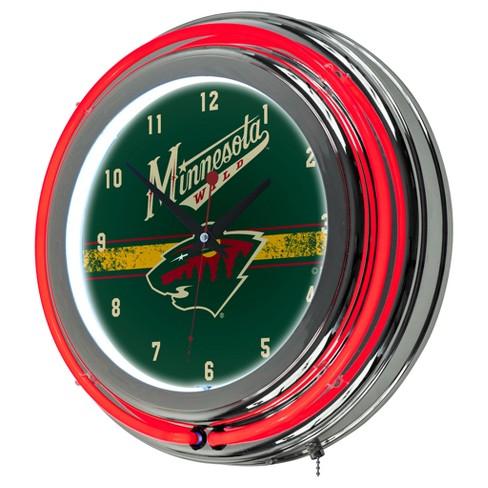 Nhl Minnesota Wild Chrome Double Rung Neon Clock Target