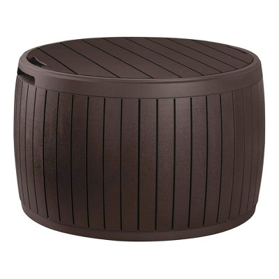 Keter Circa 3 in 1 Patio Deck Storage Box Container with Resin Wood Texture for Outdoor Table or Chair Pool Furniture Decor, 37 Gallon (Brown)