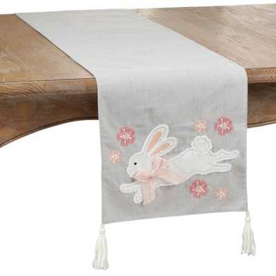 "72"" x 13"" Polyester Bunny Print Table Runner Gray - Saro Lifestyle"