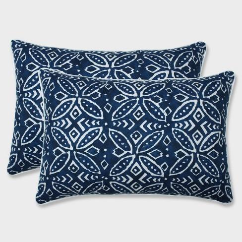 2pk Oversize Merida Indigo Rectangular Throw Pillows Blue - Pillow Perfect - image 1 of 1