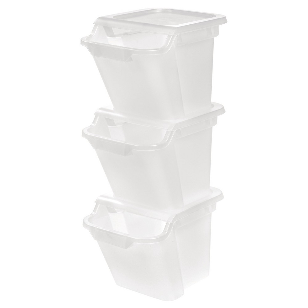 Image of IRIS 18.4 Qt Recycle Storage Bin - 3 Pack, Clear