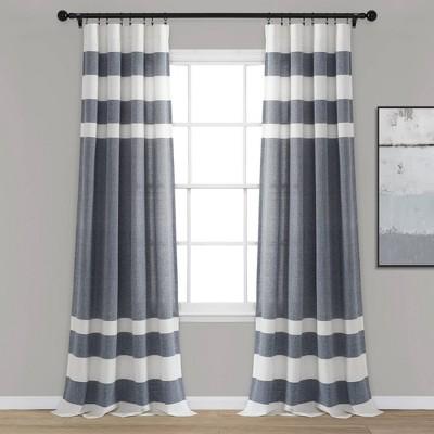 Cape Cod Stripe Yarn Dyed Cotton Window Curtain Panels - Lush Décor