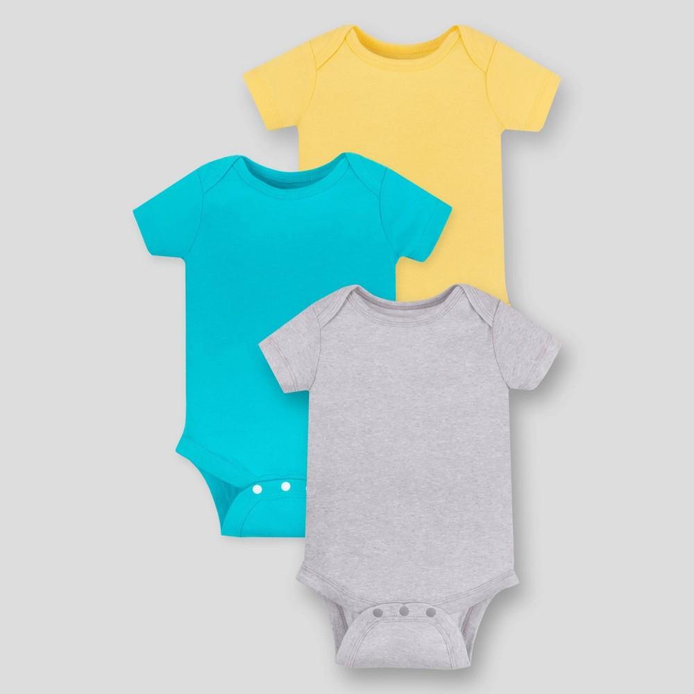 Image of Lamaze Baby 3pk Organic Cotton Bodysuit - Gray 12M, Kids Unisex